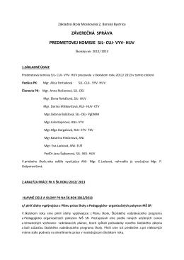 Vyhodnotenie činnosti 2013/2014