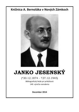 Janko Jesenský (1874-1945), 2014