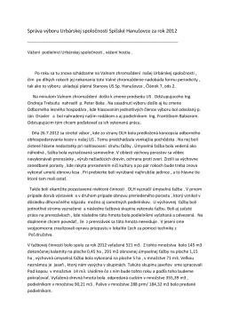 Správa výboru Urbárskej spoločnosti Spišské