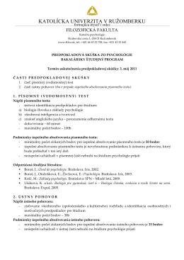 Psychológia - Filozofická fakulta KU