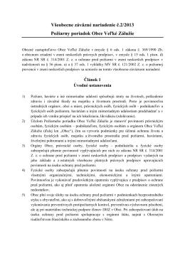 Všeobecne záväzné nariadenie č.2/2013 Požiarny