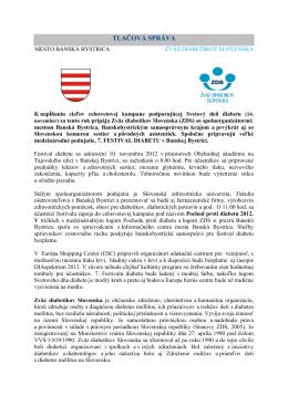 TLAČOVÁ SPRÁVA - Zväz diabetikov Slovenska