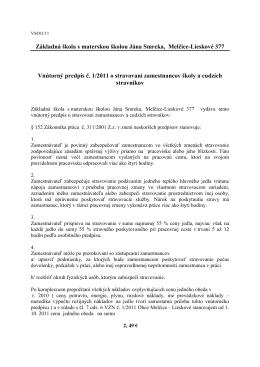 Vnutorný predpis 1-2011 o stravovani zamestnancov skoly a