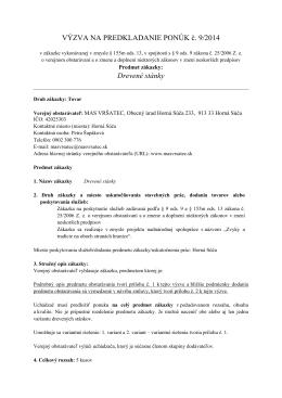 VÝZVA NA PREDKLADANIE PONÚK č. 9/2014