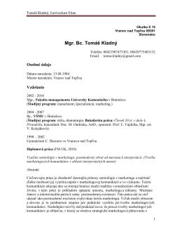 Tomáš Kladný, Curriculum Vitae