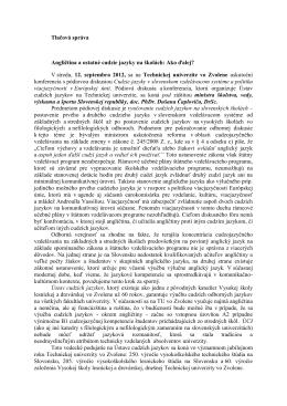 Tlačová správa Angličtina a ostatné cudzie jazyky na