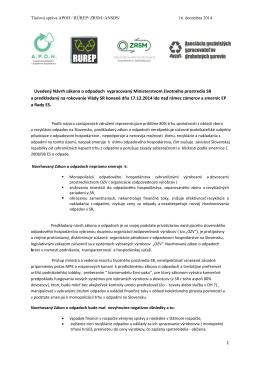 Tlačová správa APOH / RÚReP / ZRSM / ANSDS 16.12.2014