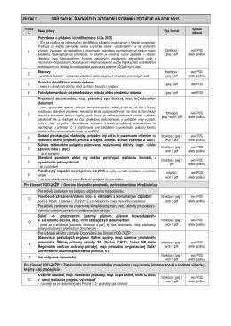 zoznam povinných príloh