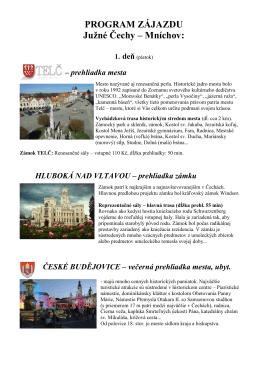 PROGRAM ZÁJAZDU Južné Čechy – Mníchov: