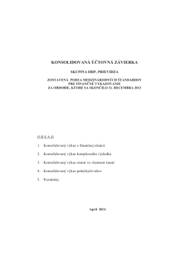konsolidovaná účtovná závierka - Hornonitrianske bane Prievidza, as