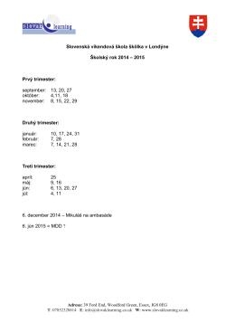Dátumy vyučovania pre academický rok 2014-15