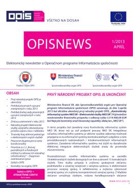 opisnews 1/2013 - INFORMATIZÁCIA