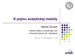 K pojmu analytickej metódy