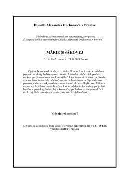 MÁRIE SISÁKOVEJ - Divadlo Alexandra Duchnoviča, Prešov