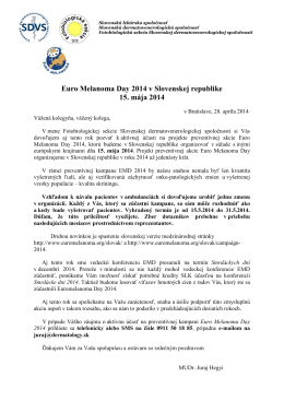 Pozvanka na EMD 2014.pdf - Slovenská Dermatovenerologická
