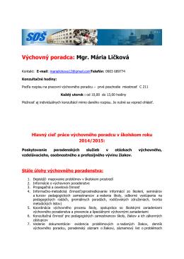 Výchovný poradca: Mgr. Mária Ličková