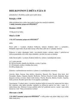 vzorový jedálniček FÁZA_II