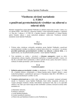 VZN 5_2013 o používaní pyrotechnických výrobkov na zábavné a