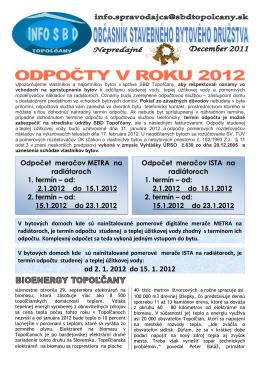 od 2. 1. 2012 do 15. 1. 2012 Odpočet meračov METRA na