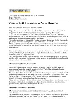 Title: Osem najlepších zamestnávateľov na Slovensku
