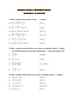 Lineárne rovnice a dôsledkové úpravy (opakujeme na písomku)