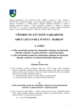 VZN č. 2-2013 o čiastočnej úhrade v MŠ, ŠJ, ŠKD