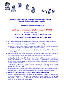 ZÁPIS DO 1. ROČ. 2012
