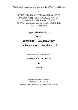 Všeobecná nemocnica s poliklinikou Veľký Krtíš, n.o. XLVII