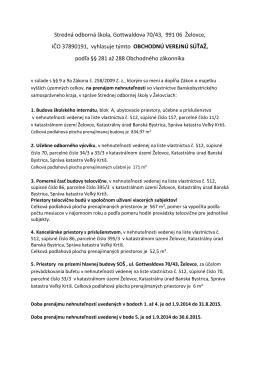 Stredná odborná škola, Gottwaldova 70/43, 991 06 Želovce,