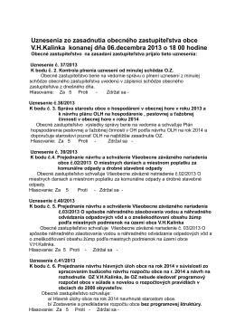 Zápisnica zo zasadnutia obecného zastupiteľstva obce