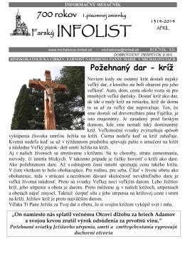 Infolist č. 4 - Rímskokatolícka farnosť Narodenia Panny Márie