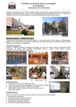 Budova školy – Brnianska ulica - Stredná odborná škola stavebná