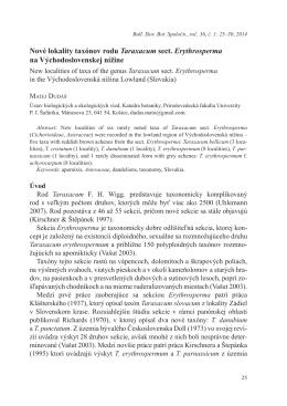 Nové lokality taxónov rodu Taraxacum sect. Erythrosperma na