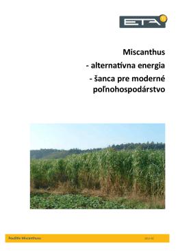 Miscanthus - alternatívna energia - šanca pre