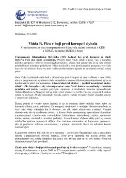 Vláda R. Fica v boji proti korupcii zlyhala