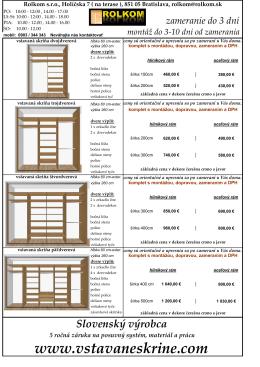 Orientačný cenník v PDF