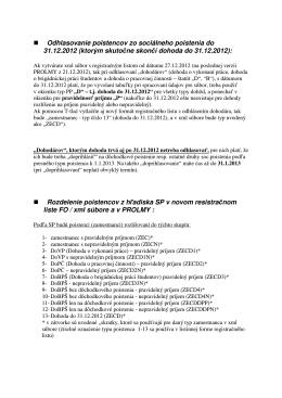 nová špecifikácia dohodárov pre SP