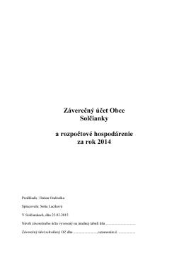 Záverečný účet obce Solčianky za rok 2014