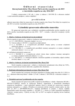 Stanovisko hlavnej kontrolórky obce Horný Pial k