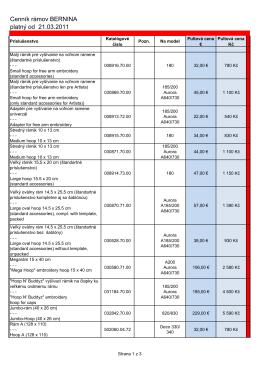 Cenník rámov BERNINA platný od 21.03.2011