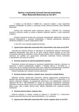 Správa o kontrolnej činnosti za rok 2011
