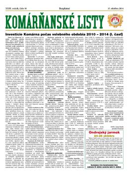 Komárňanské listy 18/2014