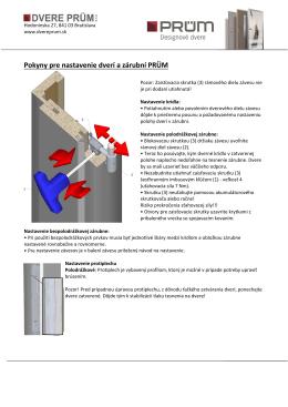 Pokyny pre nastavenie dverí a zárubní PRÜM