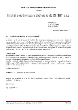 v zastúpení BEKOR s.r.o. Z. Kodálya 787/6 924 01 Galanta
