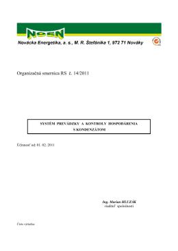 Organizačná smernica RS č. 14/2011