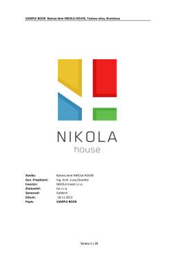 SAMPLE BOOK Bytový dom NIKOLA HOUSE, Teslova ulica