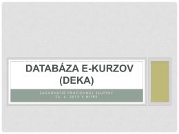 DEKa Databáza e-kurzov