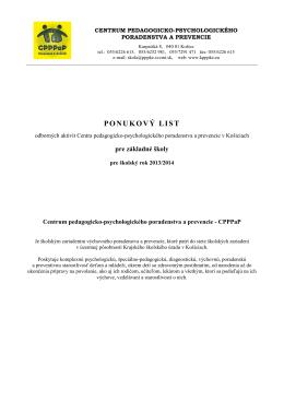 Ponukový list odborných aktivít CPPPaP pre základné školy v