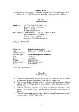 Zmluva č.02/2013 na zabezpečenie stravovania pre Polikliniku