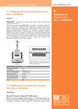 9. prístroje pre izoláciu dna, rna a proteínov